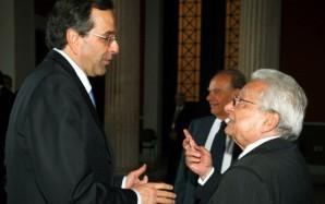 Ο Πρόεδρος Πέτρος Μολυβιάτης ( δ ) με τον ΥΠ.ΠΟ Αντώνη Σαμαρά ( α ) σε στιγμιότυπο απο την εκδήλωση του ιδρύματος Καραμανλή για τα 30 χρόνια απο την ένταξη της Ελλάδας στην ΕΟΚ,σήμερα Πέμπτη 21 Μαϊου 2009   ( EUROKINISSI / ΧΑΣΙΑΛΗΣ ΒΑΪΟΣ )
