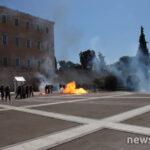 Βρε τα παιδιά: Ενταση και μολότοφ στο Σύνταγμα έξω από τη Βουλή, στο πανεκπαιδευτικό συλλαλητήριο